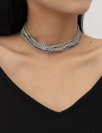 Fashion White K Geometric Multilayer Necklace With Diamond Claw Chain