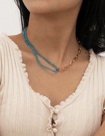 Fashion Gold Color Rice Bead Woven Stitching Contrast Necklace