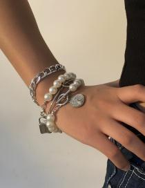 Fashion White K Multilayer Ot Lock Pearl Alloy Bracelet Set