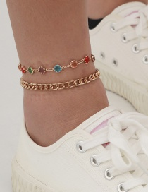 Fashion Gold Color Handmade Chain Gem Round Double Anklet