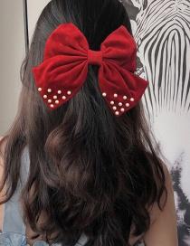 Fashion Burgundy Pearl Hairpin Pearl Big Bow Fabric Alloy Hairpin