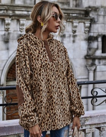 Fashion Leopard Stitching Leopard Print Flocking Round Neck Loose Long Sleeve Hoodie