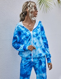 Fashion Blue Slim-fit Printed Zipper Tie-dye Hooded Sweatshirt Jacket