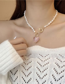 Fashion Pink Love Freshwater Pearl Love Lock Necklace