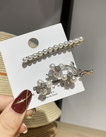 Fashion Branches Pearl Branch Diamond Alloy Hairpin Set