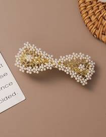 Fashion Gold Coloren Pearl Bow Hollow Alloy Hairpin