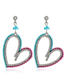 Fashion Blue Hollow Diamond Heart Alloy Geometric Earrings
