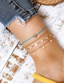 Fashion Gold Color String Shell Rhinestone Five-pointed Star Anklet Set