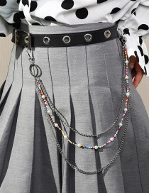 Fashion Silver Color Color Rice Bead Beaded Chain Multi-layer Waist Chain