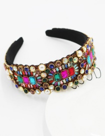 Fashion Color Mixing Geometric Wide-brimmed Headband With Diamonds