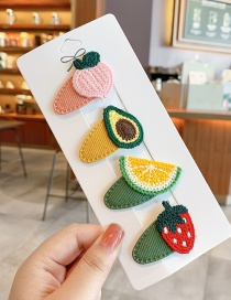 Fashion Avocado Series Knitted Fruit Animal Hit Color Alloy Hairpin For Children