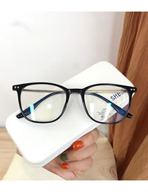 Fashion Bright Black Transparent Rice Nail Geometric Flat Glasses