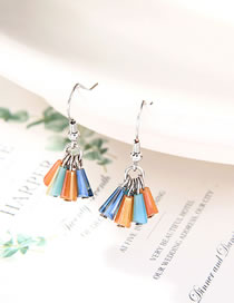 Fashion Color Mixing Tassel Resin Alloy Earrings