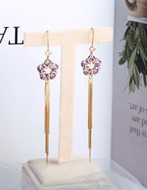 Fashion Taro Purple Alloy Earrings With Fringed Flowers And Diamonds