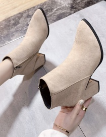 Fashion Beige Chunky High Heel Pointed Side Zip Martin Boots