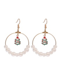 Fashion Christmas Tree Christmas Series Alloy Round Oil Drop Pearl Earrings