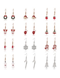 Fashion Color Christmas Series Alloy Dripping Geometric Earrings Set