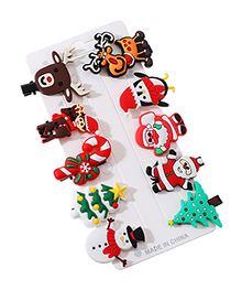 Fashion Color Alloy Soft Clay Santa Claus Series Duckbill Clip Set