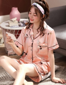Fashion Pink Crane Faux Silk Printed Cardigan Short-sleeved Thin Homewear Pajamas Set