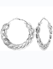 Fashion Silver Color 7cm Alloy Geometric Round Chain Hollow Earrings