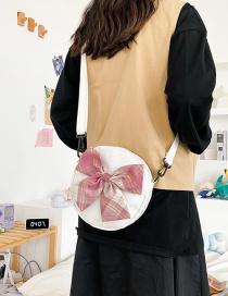 Fashion White Bowknot Canvas Round Shoulder Crossbody Bag