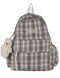 Fashion Brown Send Bear Pendant Canvas Letter Label Checked Backpack