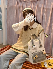 Fashion Gray Send Three Pendants Contrast And Knotted Checkered Backpack