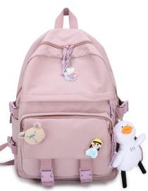 Fashion Pink Plush Pendant Bolt-lock Stitching Nylon Backpack
