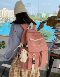 Fashion Pink Bear Pendant Contrast Letters Embroidered Backpack