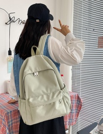 Fashion Green Solid Color Stitching Nylon Backpack With Zipper