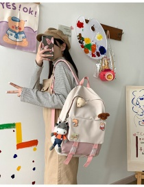 Fashion Pink Send Plush Pendant Badge Contrast Stitching Buckle Backpack