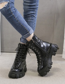 Fashion Black Patent Leather Round Toe Side Zip Mid-tube Martin Boots