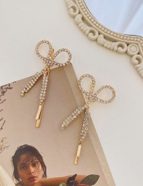 Fashion Gold Color Scissors Diamond-studded Alloy Hollow Hairpin