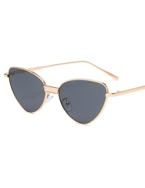 Fashion Gold Frame All Gray Small Frame Cat Eye Alloy Sunglasses
