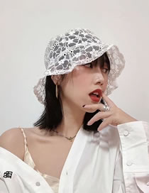 Fashion White Lace Embroidery Foldable Sun Protection Fisherman Hat