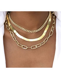 Fashion Gold Color Thick Chain Snake Bone Chain Alloy Multilayer Necklace Street