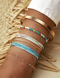 Fashion Color Mixing String Braided Rice Bead Alloy Multilayer Bracelet