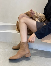 Fashion Dark Brown Low Block Heel Square Toe Back Zipper Ankle Boots