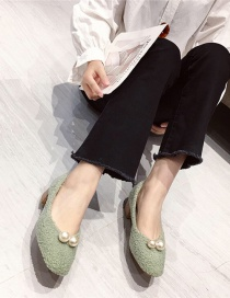Fashion Green Thick Mid-heel Pearl And Velvet Square Toe Fur Shoes