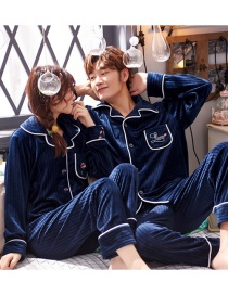 Fashion Mens Blue Mens Cardigan Single-breasted Coral Fleece Couple Pajamas Home Service Set
