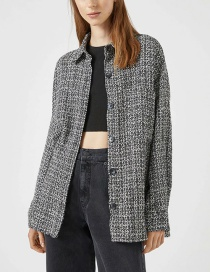 Fashion Dark Gray Two-tone Tweed Jacket
