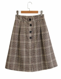 Fashion Coffee Color Houndstooth Single-breasted Skirt