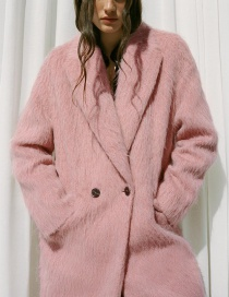 Fashion Pink Double Button Solid Color Coat