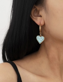 Fashion Gold Color Turquoise Peach Heart Alloy Earrings