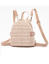 Fashion Creamy-white Straw Pearl Chain Contrast Backpack