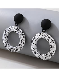 Fashion Black And White Round Spot Alloy Earrings