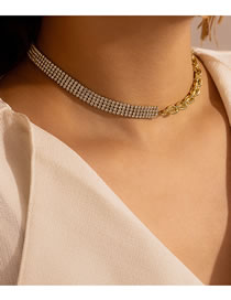 Fashion Gold Color Diamond Stitching Thick Chain Necklace