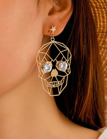Fashion Gold Color Halloween Skull Face Earrings