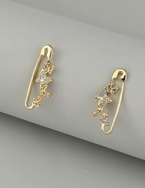 Fashion Gold Color Diamond Butterfly Pin Earrings