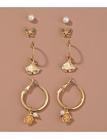 Fashion Gold Color Butterfly Maple Flower Earring Set